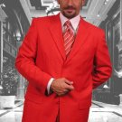 Gianni Mens Red Wool Feel Poly-Rayon Suit 3 Button Super 120'S Extra Fine 2Pc