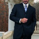 Wide Leg Solid Navy Super 150'S Wool Feel Touch Suit Hand Made
