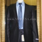 1 Button Navy Solid 100% Wool  Flat Front Fitted Suit