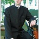 Mens Mandarin Banded Collar Solid Black 5 Button Dress Formal Suit