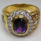AMETHYST YELLOW GOLD CHRISTIAN BISHOP SILVER RING NEW