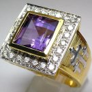 PRINCESS AMETHYST 14K GOLD BISHOP STERLING SILVER RING