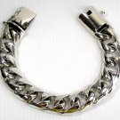 "FIGARO CUBAN STERLING SILVER MENS CHAIN BRACELET 8"" NEW"