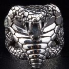 KING COBRA SNAKE HEAVY .925 STERLING SILVER BIKER RING