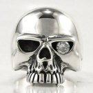 DIAMOND ROCKER SKULL 925 STERLING SILVER RING Sz 12 NEW