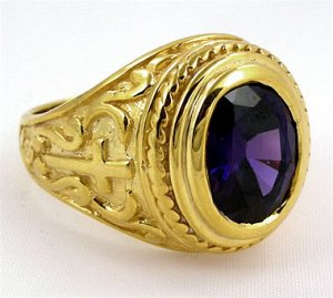 CHRISTIAN BISHOP CROSS 14K YELLOW GOLD SILVER MENS RING