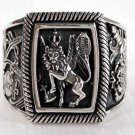 RASTA LION RAMPANT SOLID STERLING SILVER RING Sz 8.5