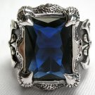 BLUE DRAGON CLAW AXE STERLING SILVER MENS RING 10.25
