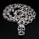 FLAMING SKULL 925 STERLING SILVER CHAIN NECKLACE NEW