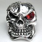 GARNET EYE HEAVY SKULL STERLING SILVER RING 8.5 NEW