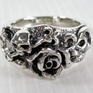 SKULL ROSE TATTOO STERLING SILVER MENS RING Sz 12 NEW