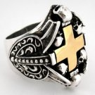 14K GOLD CROSS HEART STERLING SILVER MENS RING Sz 8.5