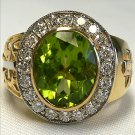 PERIDOT CHRISTIAN BISHOP YELLOW GOLD SILVER MENS RING