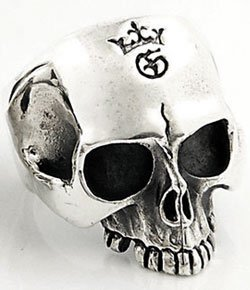 HALF JAW CLASSIC ROCKER SKULL STERLING SILVER RING 13.5