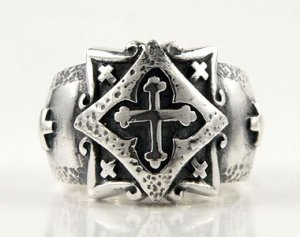 CELTIC CROSS SOLID 925 STERLING SILVER MENS BAND RING