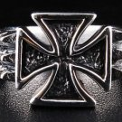 THORN MALTESE IRON CROSS STERLING SILVER RING Sz 13.5