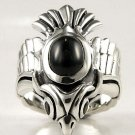 PHOENIX PHINIX EAGLE BIRD BLACK STAR SILVER RING Sz 12