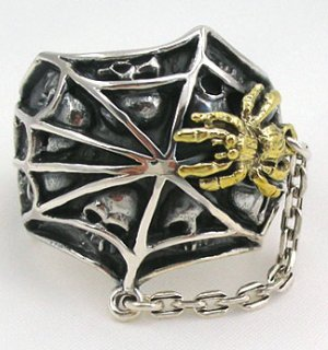 14K YELLOW GOLD SPIDER CHAIN 925 SILVER MENS RING 10.25