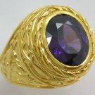 AMETHYST BISHOP EASTER 14K YELLOW GOLD SILVER RING NEW