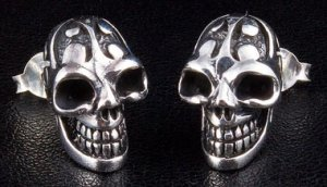 TATTOO SKULL 925 STERLING SILVER GOTHIC STUD EARRINGS