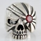 DIAMOND EYE PIRATE SKULL STERLING SILVER RING Sz 8 NEW