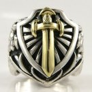 14K YELLOW GOLD SWORD STERLING SILVER RING Sz 10.5 NEW