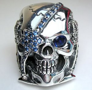 SAPPHIRE PIRATE SKULL 925 STERLING SILVER RING Sz 13.5