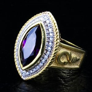 MARQUISE AMETHYST 14K YELLOW GOLD WOMENS CHRISTIAN RING