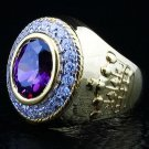 DIAMOND CROWN 14K YELLOW GOLD AMETHYST BISHOP RING NEW