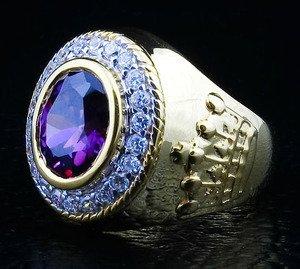 DIAMOND CROWN 14K YELLOW GOLD AMETHYST BISHOP RING NEW
