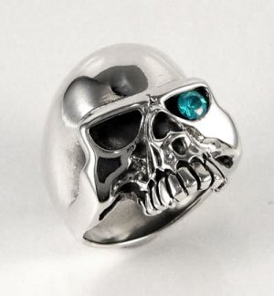 BLUE TOPAZ SKULL 925 STERLING SILVER RING Sz 10.25 NEW