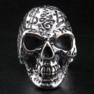 TATTOO SKULL BIG 925 STERLING SILVER BIKER RING Sz 9.5