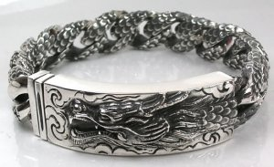 ENGRAVED DRAGON ID HEAVY STERLING .925 SILVER BRACELET