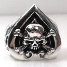 CROSSBONES SKULL HEART MENS STERLING SILVER RING Sz 8.5