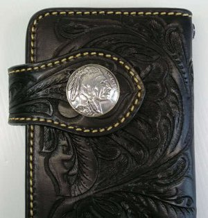 Indian Western Tattoo Genuine Leather Biker Wallet New