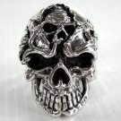 GOTHIC DEATH SKULL TATTOO 925 STERLING SILVER RING NEW