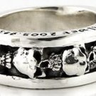 SKULL SOLID 925 STERLING SILVER MENS BAND RING Sz 7.5