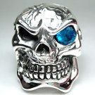 BLUE TOPAZ SKULL HEAVY STERLING SILVER MENS RING 7.5