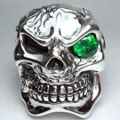 SKULL EMERALD STERLING SILVER MENS RING Sz 10.5 NEW