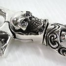 DIAMOND SKULL STERLING SILVER KEYCHAIN WALLET HOLDER