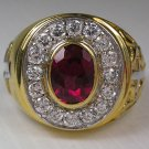 RUBY CHRISTIAN BISHOP YELLOW GOLD STERLING SILVER RING