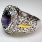CROSS CHRISTIAN BISHOP AMETHYST STERLING SILVER RING