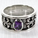 AMETHYST FLEUR DE LIS STERLING SILVER MENS RING Sz 8