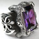 Gothic Dragon Claw Amethyst Heavy .925 Sterling Silver Mens Ring