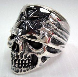 Chopper Motorcycle 925 Sterling Silver Iron Cross Bandana Skull Biker Ring