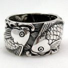 Japanese Carp Koi Fish Tattoo 925 Sterling Silver Mens Wedding Bands Ring