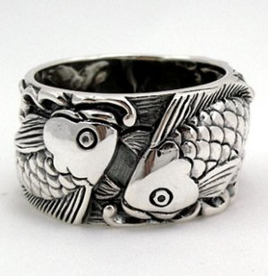 Japanese Carp Koi Fish Tattoo 925 Sterling Silver Mens Wedding Bands ...