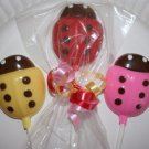 Lot of 25 Birthday or Baby Shower Chocolate LADYBUG LOLLIPOP