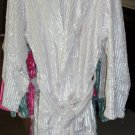 New Adult Microfiber Coral Fleece Shine Stripe Bath Robe