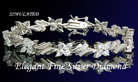 14.10CT FLAWLES PLATINUM DIAMOND SILVER TENNIS BRACELET